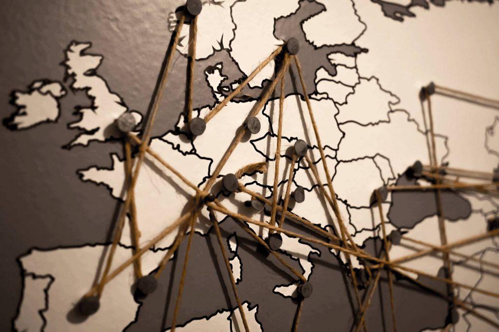 Netzwerk auf Weltkarte